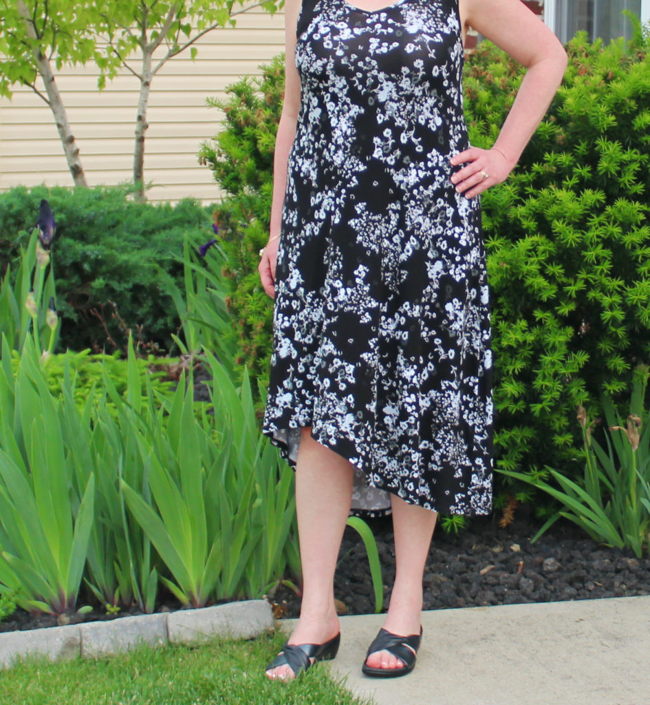 Blac And White Sun Dress With Black Slides