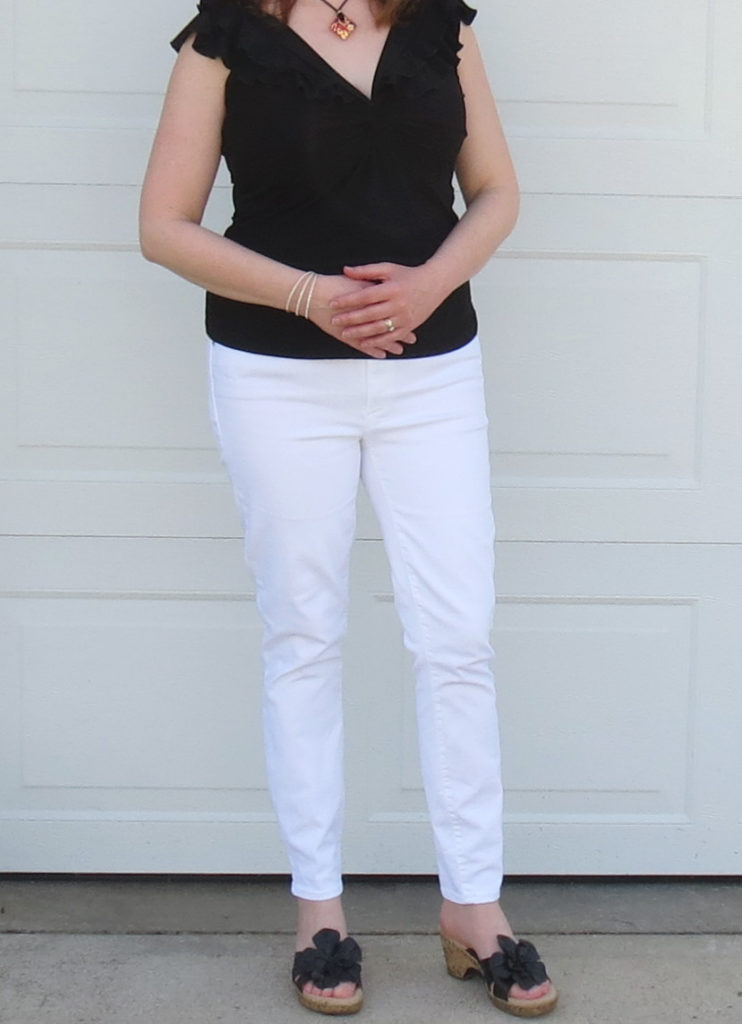 Black Ruffle Top With White Jeans And Black Wedges