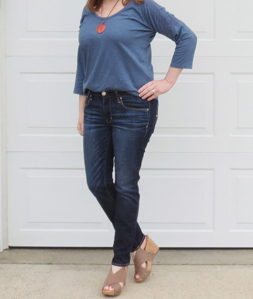 Blue Top With Lace Trim On The Sleeve