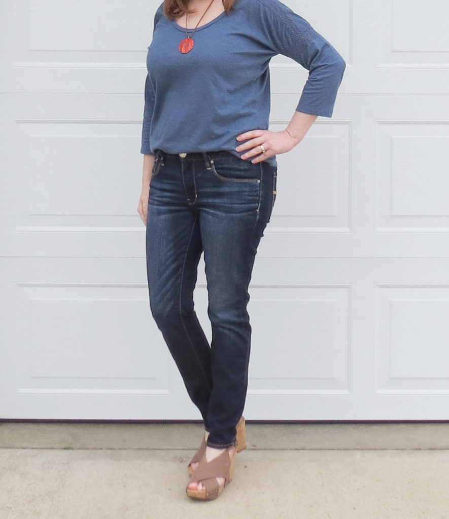 Blue Top With Lace Trim On Sleeve