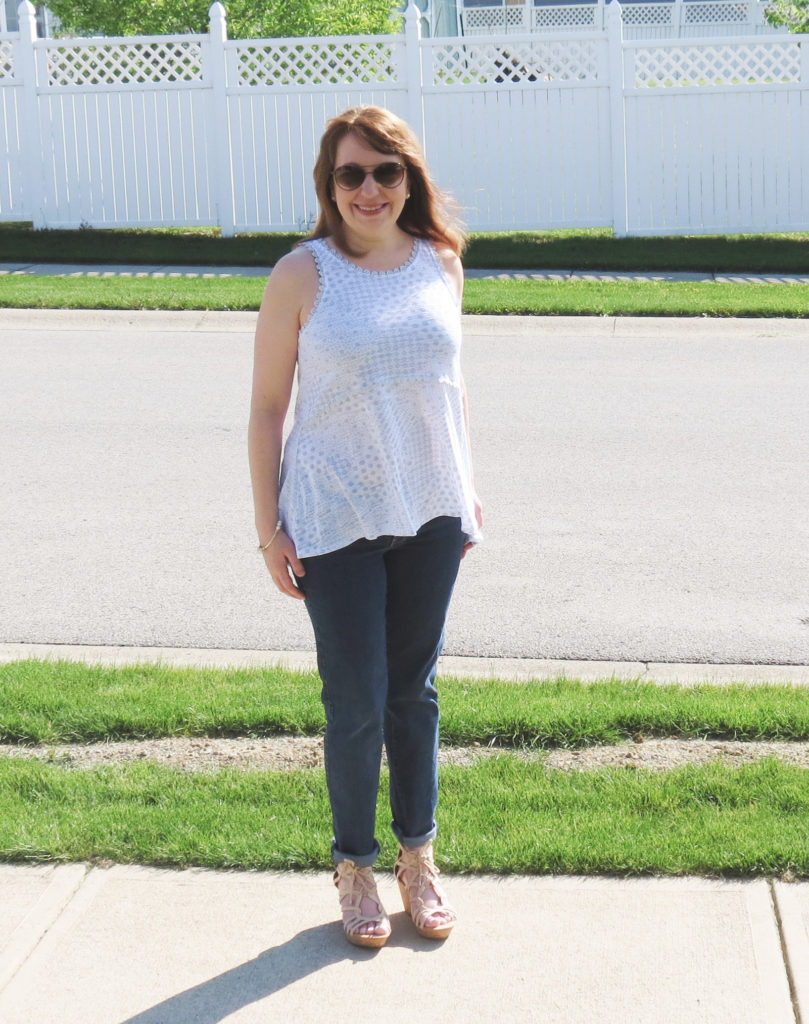 Blue And White Top, Jeans, Wedges, Sunglasses