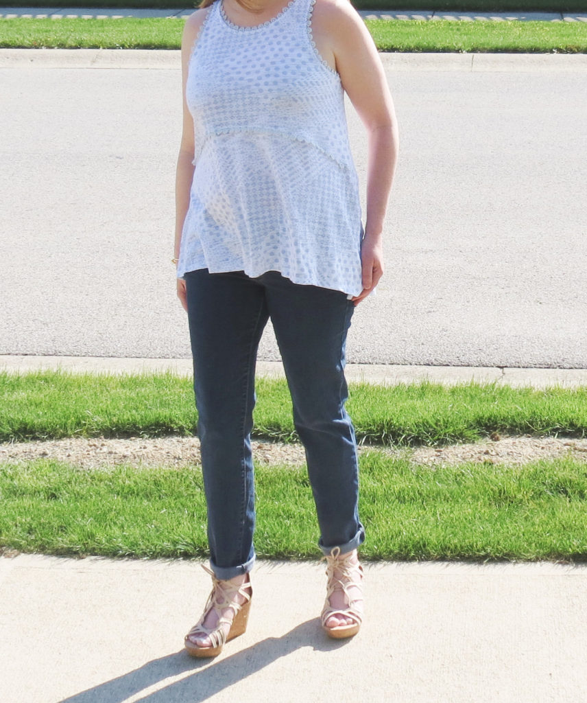 Blue And White Top, Jeans, And Nude Wedges