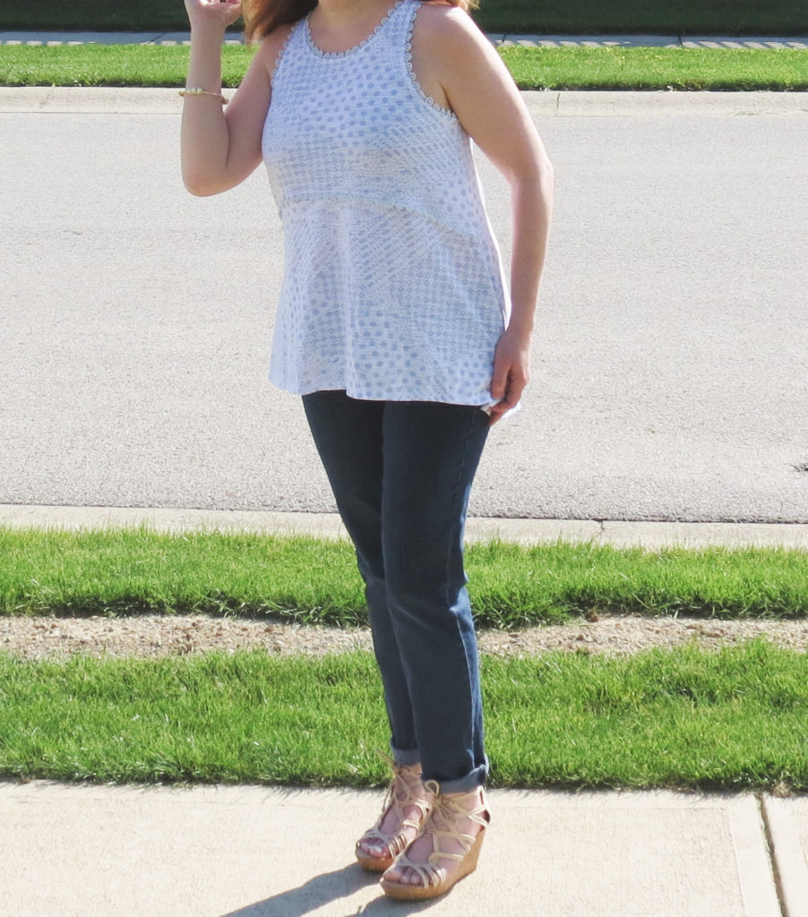 Blue And White Top, Jeans, Nude Wedges, Pearl Bracelet