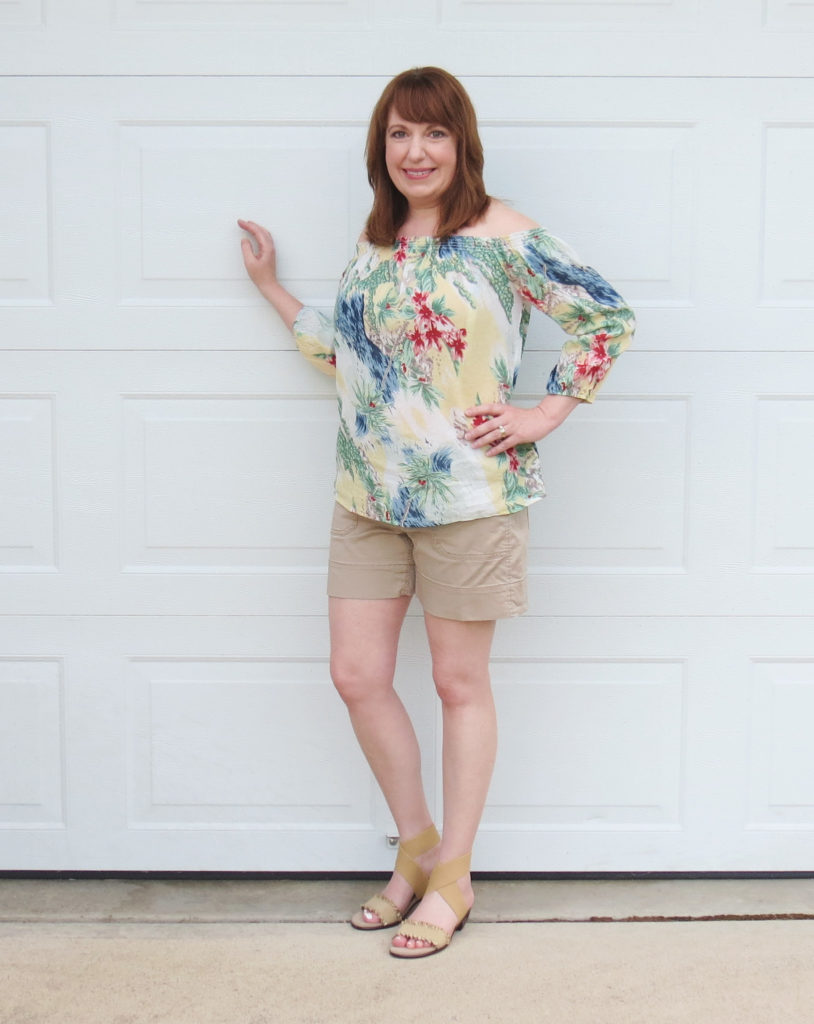 Tropical Top With Shorts And Sandals