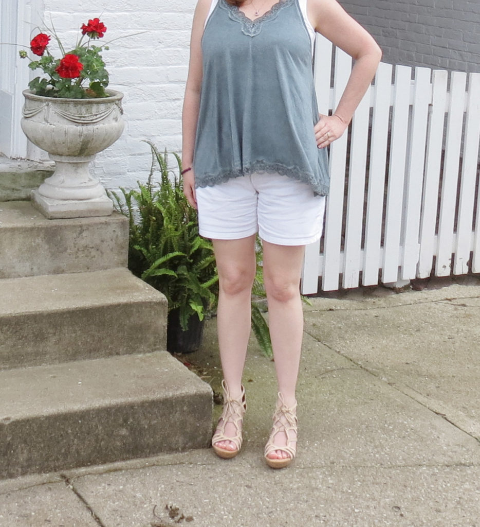Lace Teal Tank With White Shorts And Nude Wedges