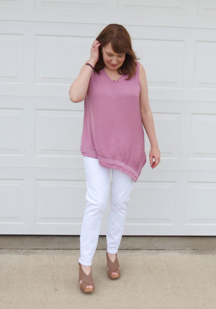 Mauve Orchid Top With White Jeans And Tan Wedges
