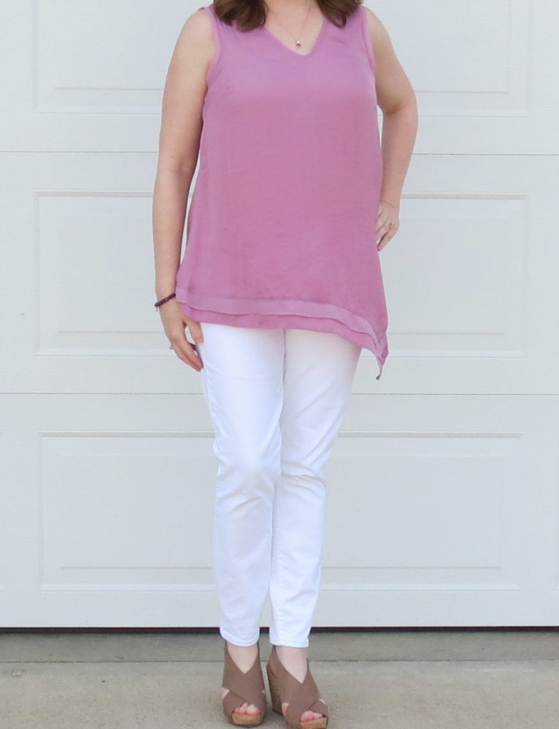 Mauve Orchid Sleeveless Top And White Jeans