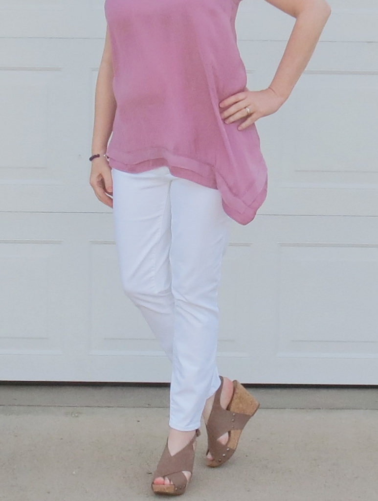 Mauve Orchid Top And White Jeans