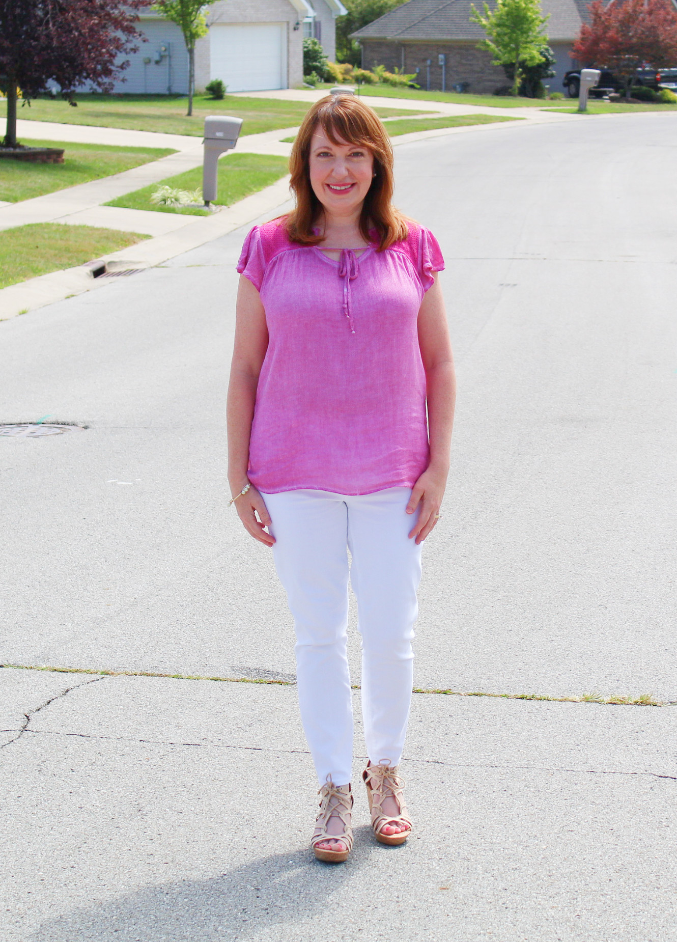 Pink Top With White Jeans And Nude Sandals
