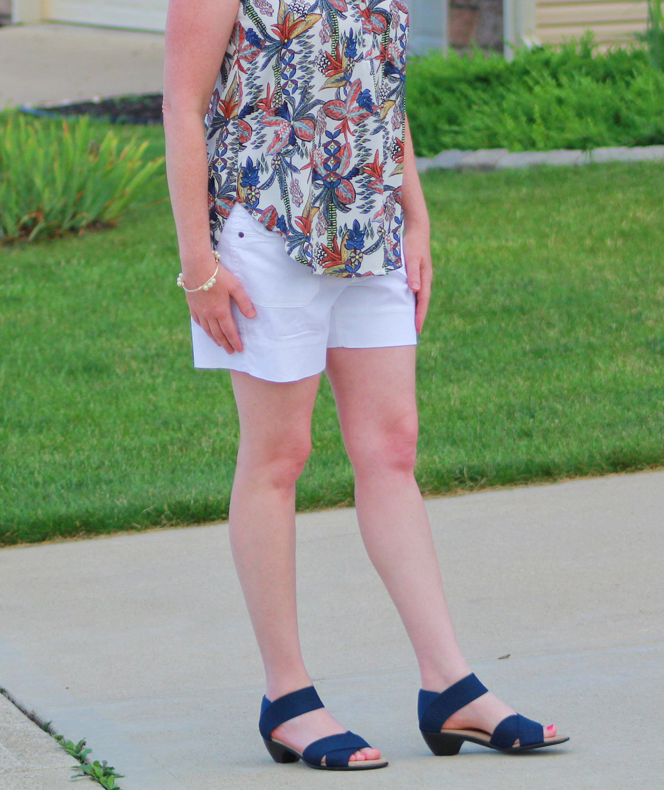 Tropical Top With White Shorts And Sandals
