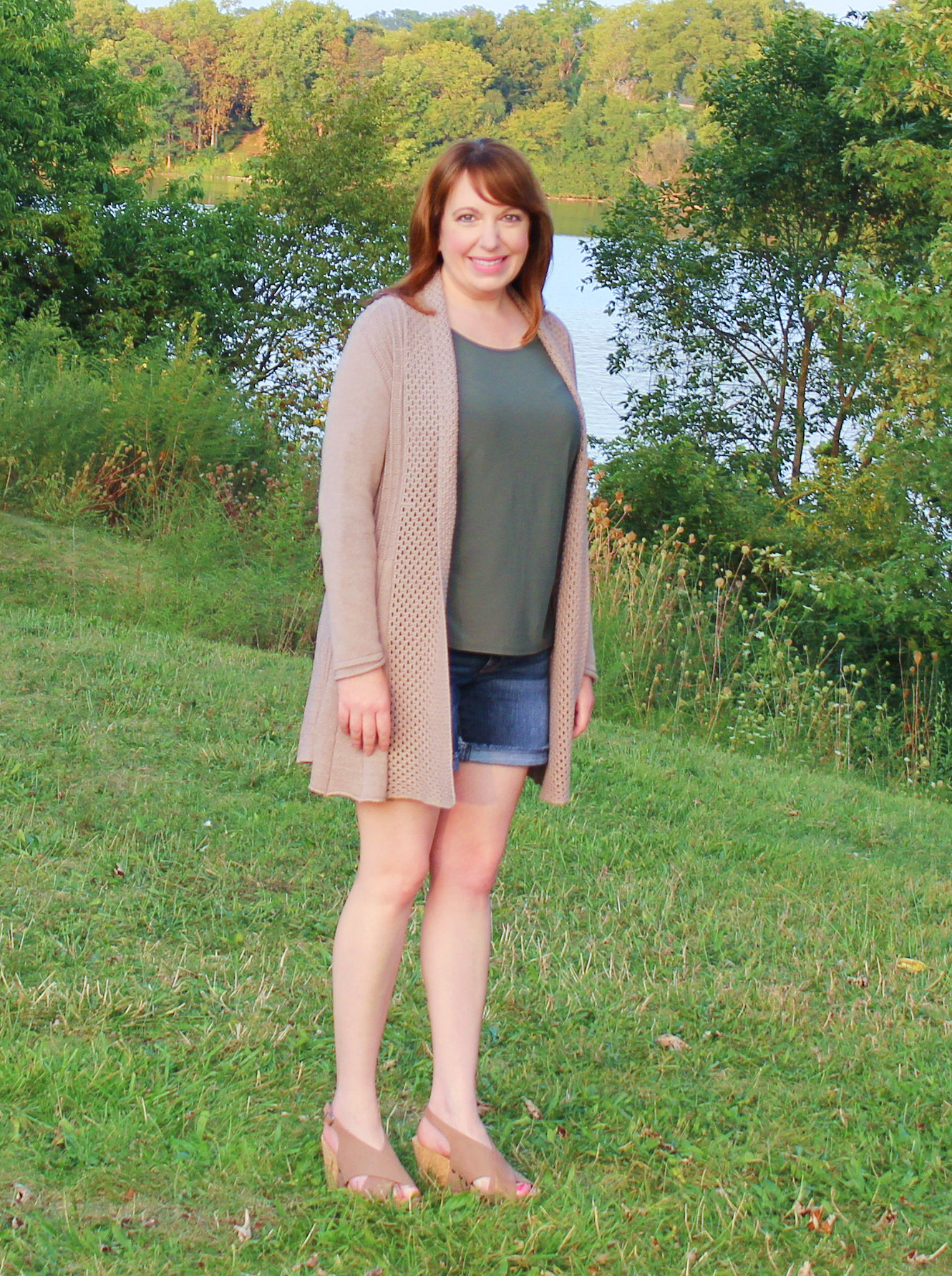 Fall Cardigan/Shorts Outfit