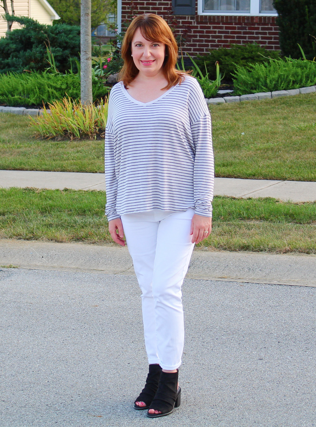 Striped Top And White Jeans
