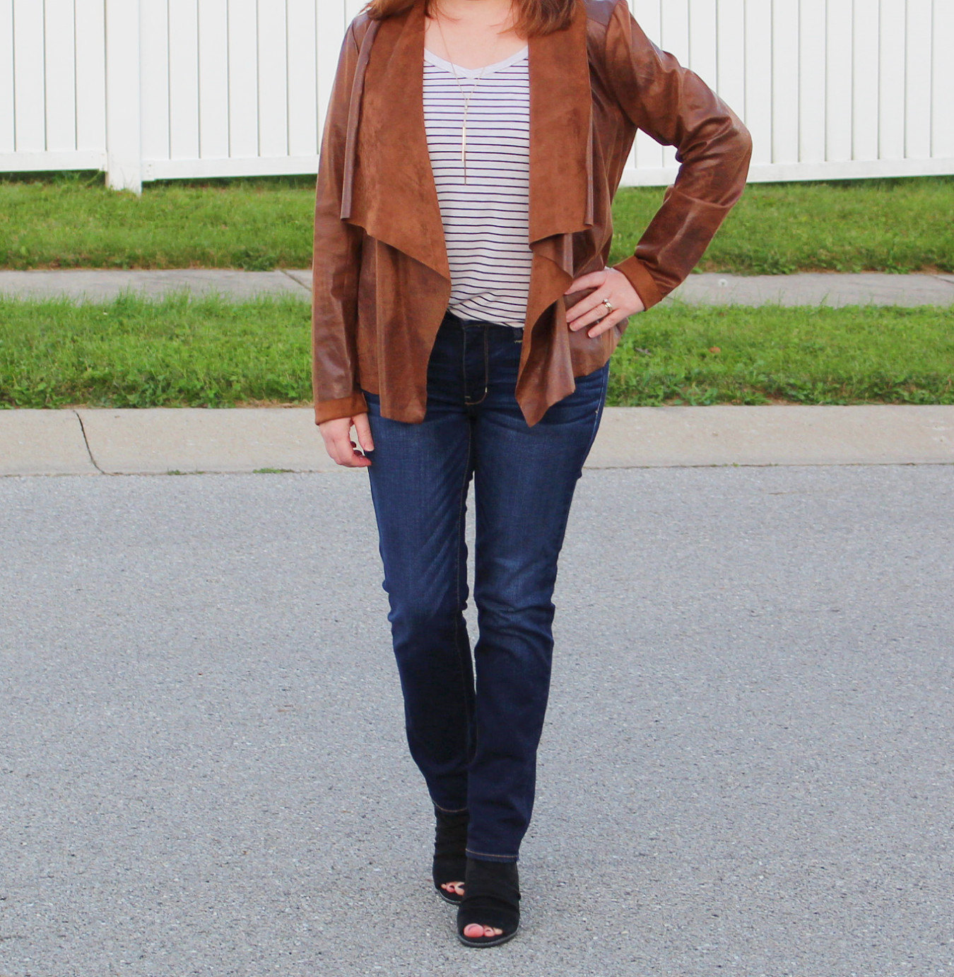 Brown Suede Jacket With Jeans And Black Slingback Booties