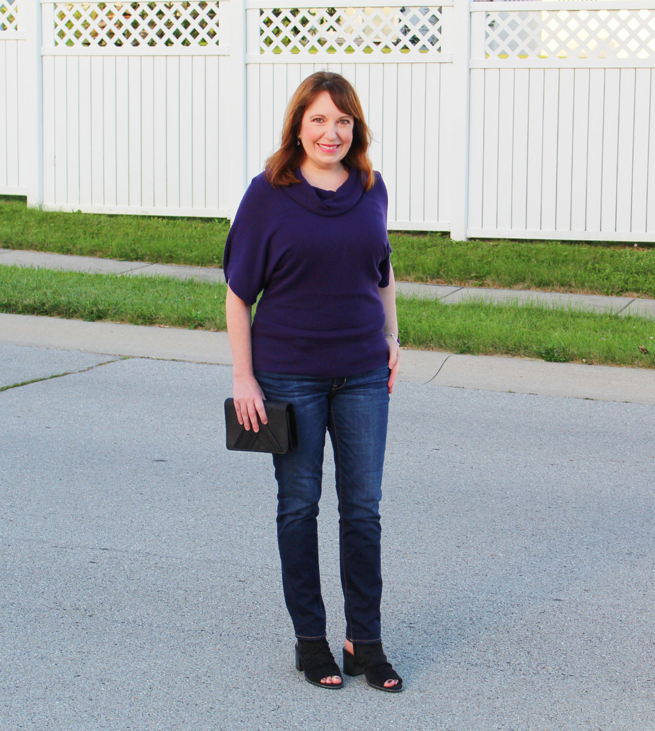 Purple Cowl Neck Sweater And Jeans