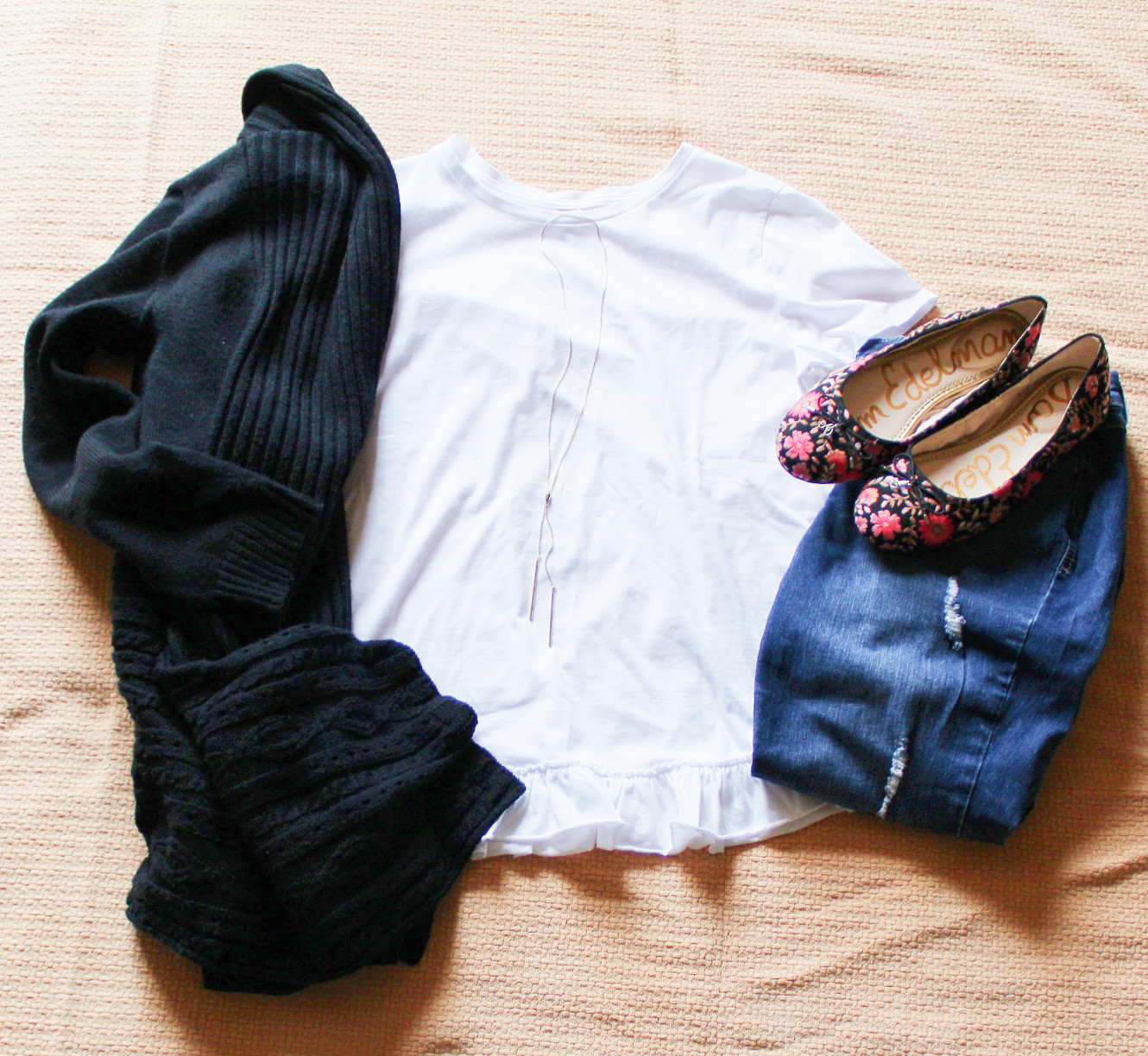 White Tee With Black Cardigan