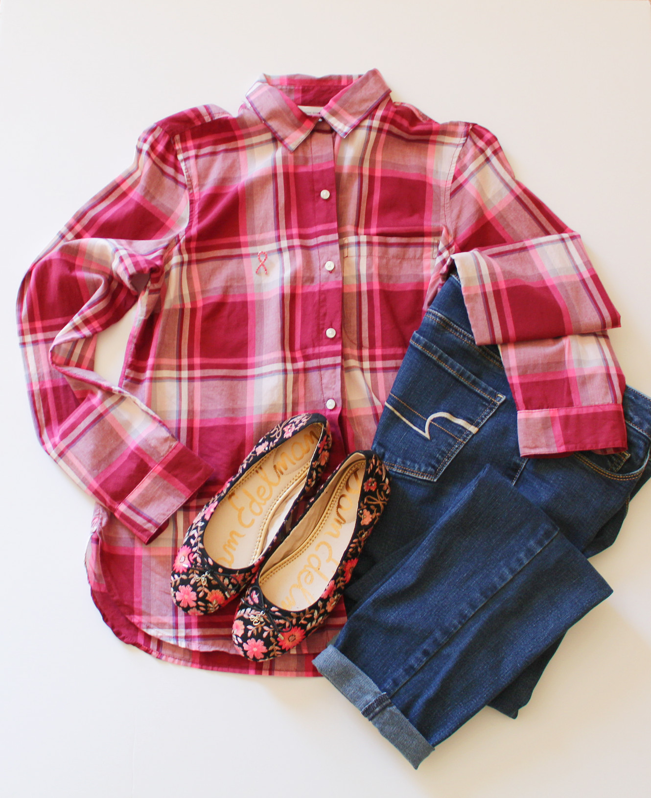 Plaid Shirt And Floral Flats Outfit