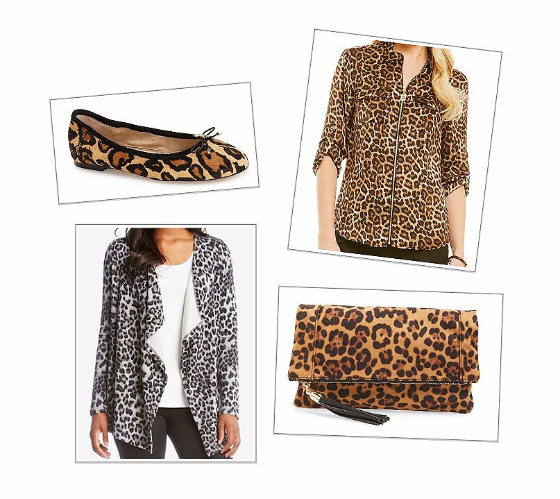 Leopard Print Shoes, Cardigan, Clutch, And Shirt