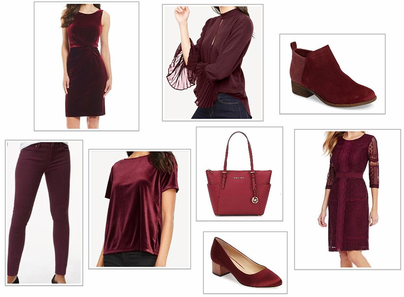 Shirts, Dresses, Shoes, And Handbags In Burgundy
