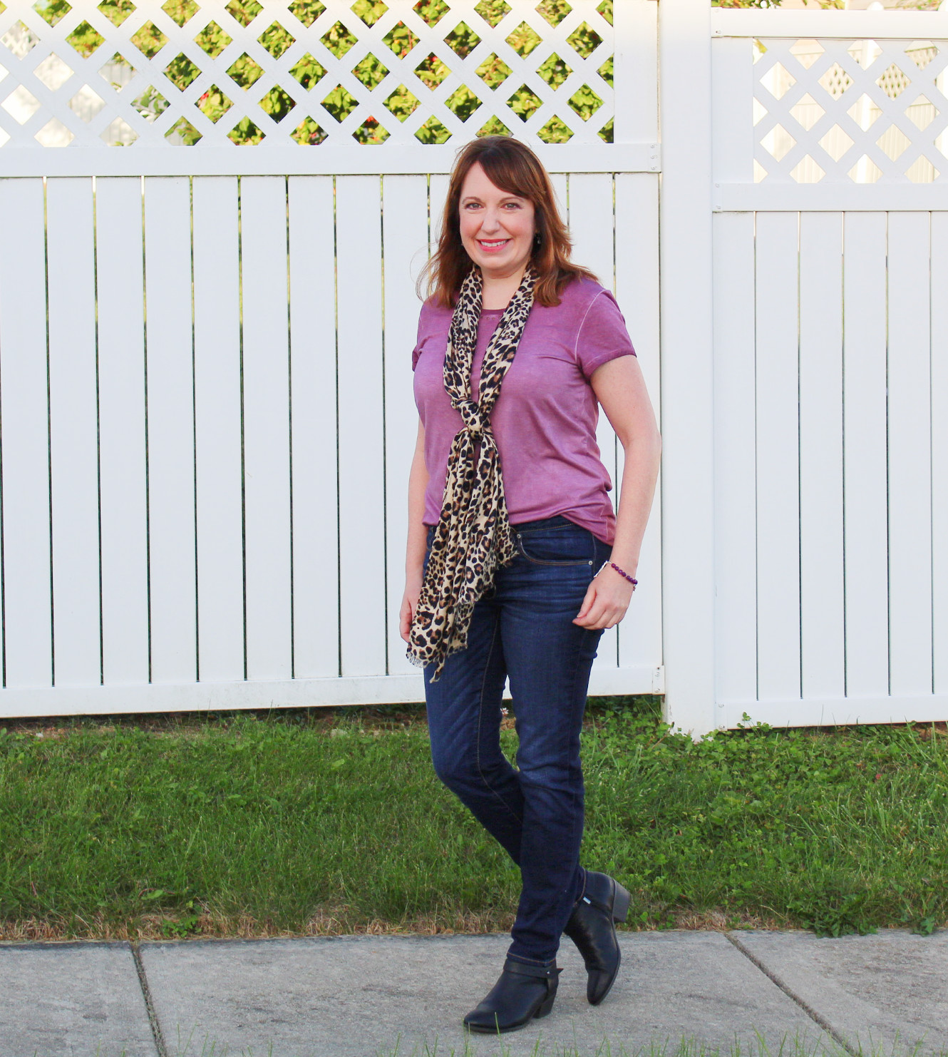 Purple Tee With Leopard Print Scarf Outfit