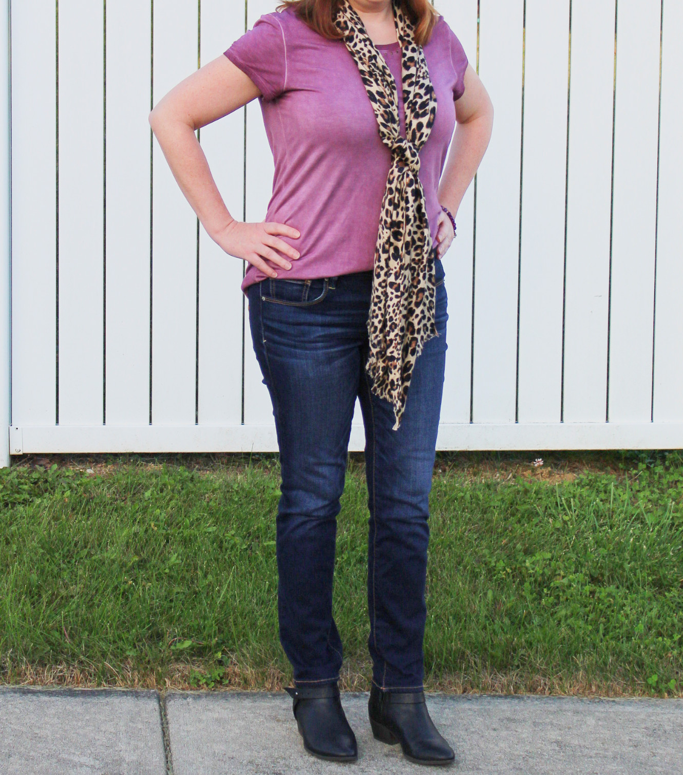 Leopard Print Scarf And Purple Tee Close Up