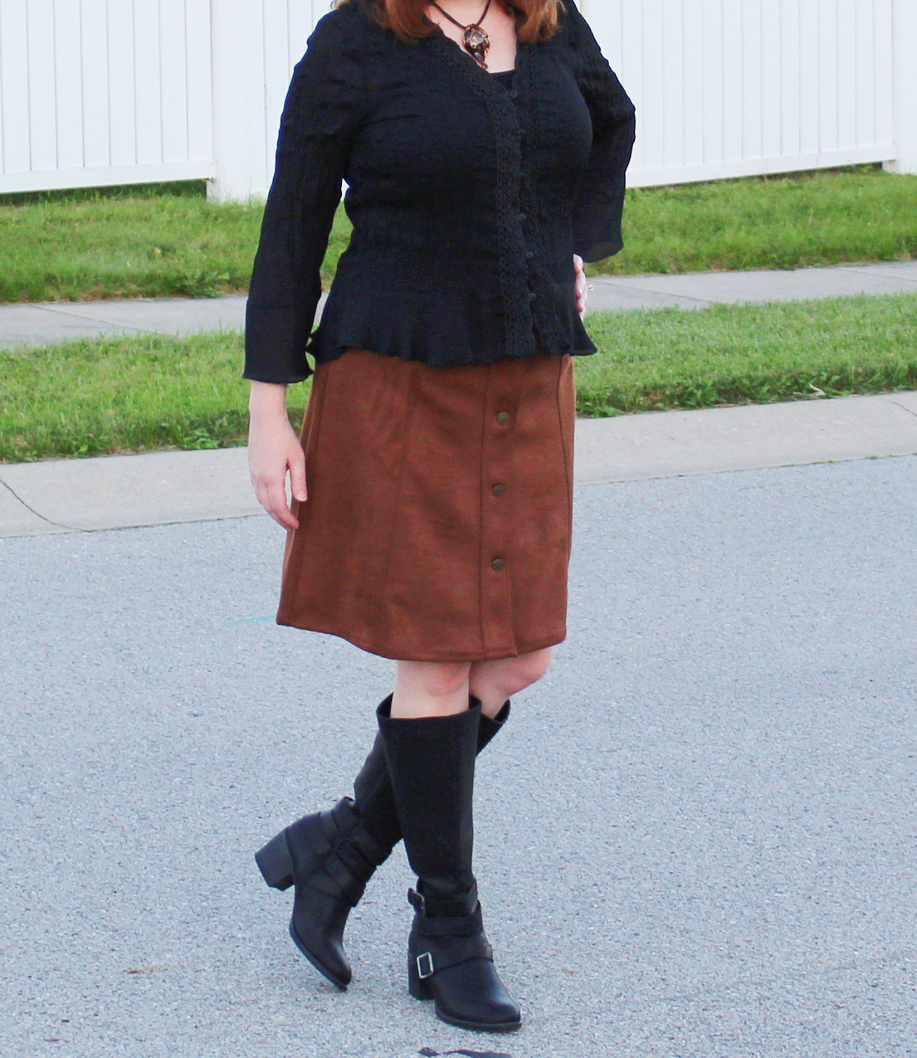 Lace Black Top, Suede Skirt, And Black Boots