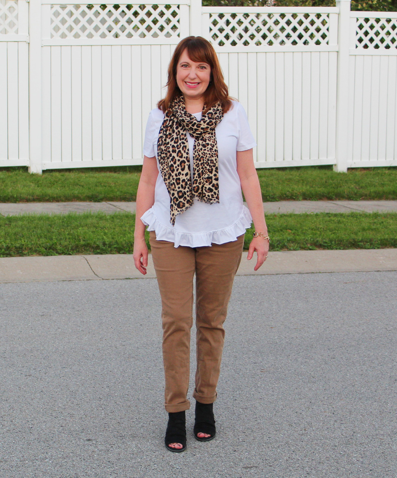 Tee, Scarf, Brown Pants, And Black Sling Back Shoes