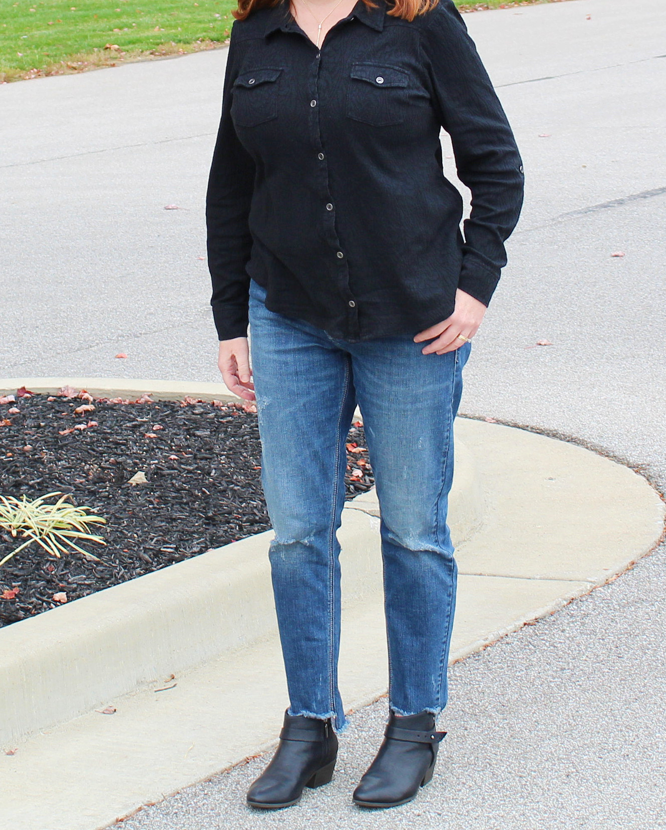 Raw Edge Jeans And Black Ankle Boots