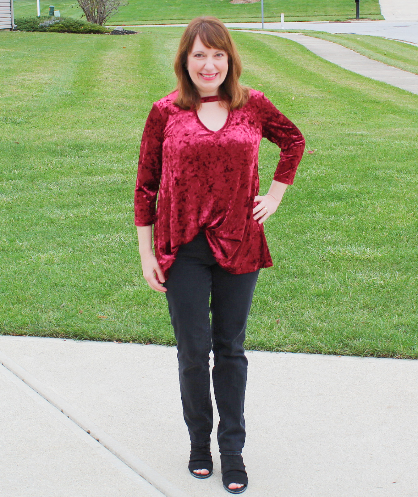 Burgundy Velvet Top And Black Jeans