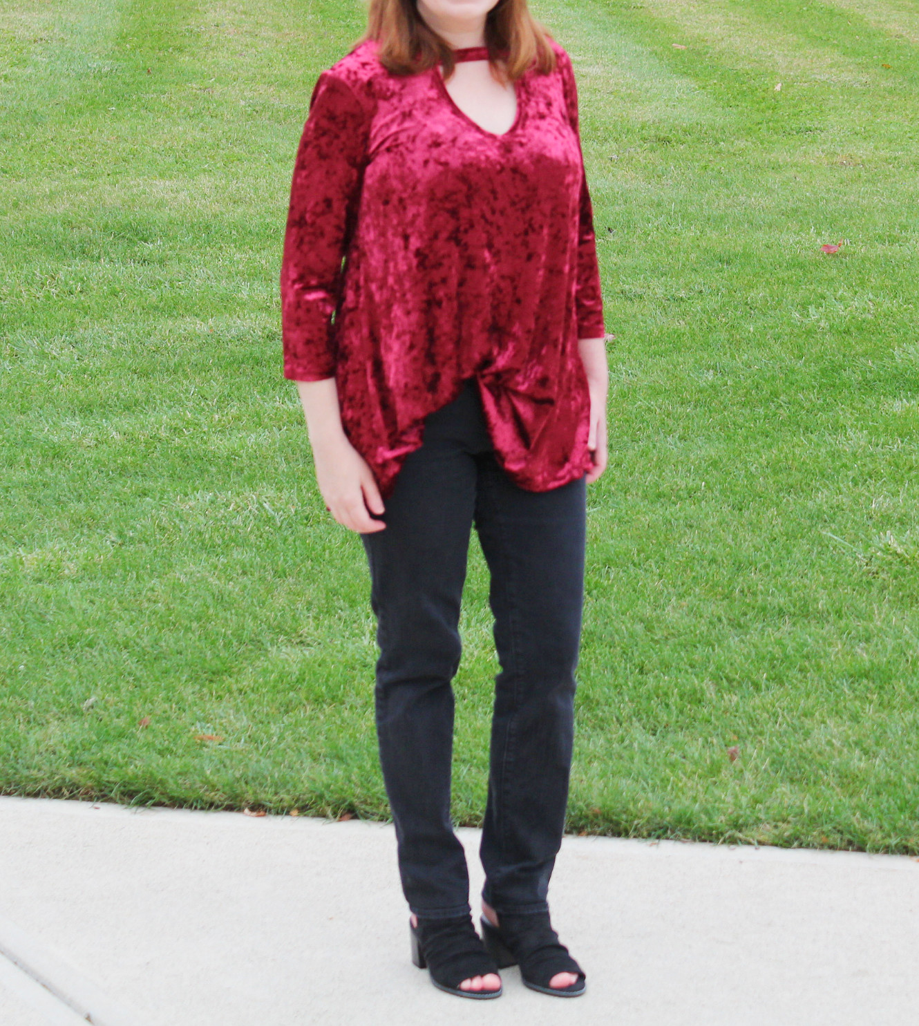 Crushed Velvet Top, Black Jeans, And Black Shoes