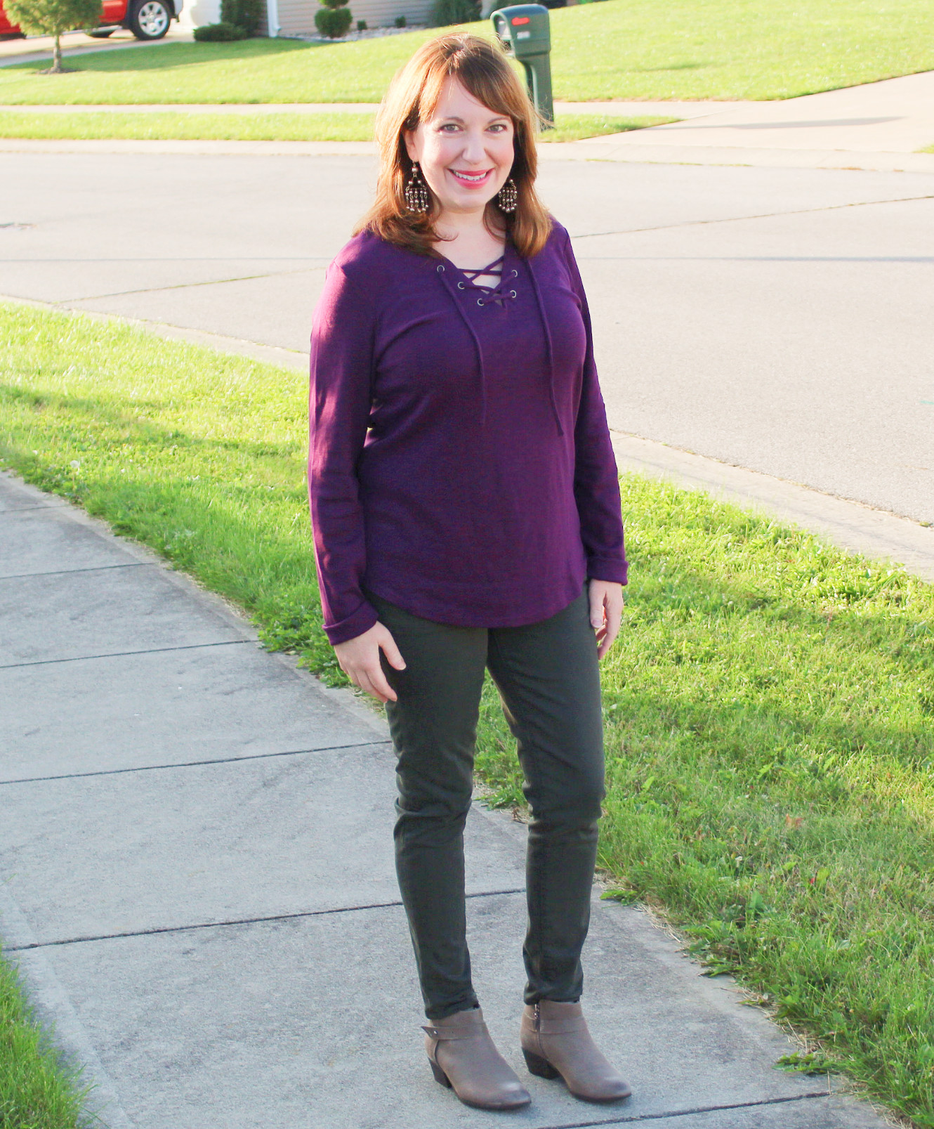 Purple Pull Over Top And Skinny Sprouce Jeans