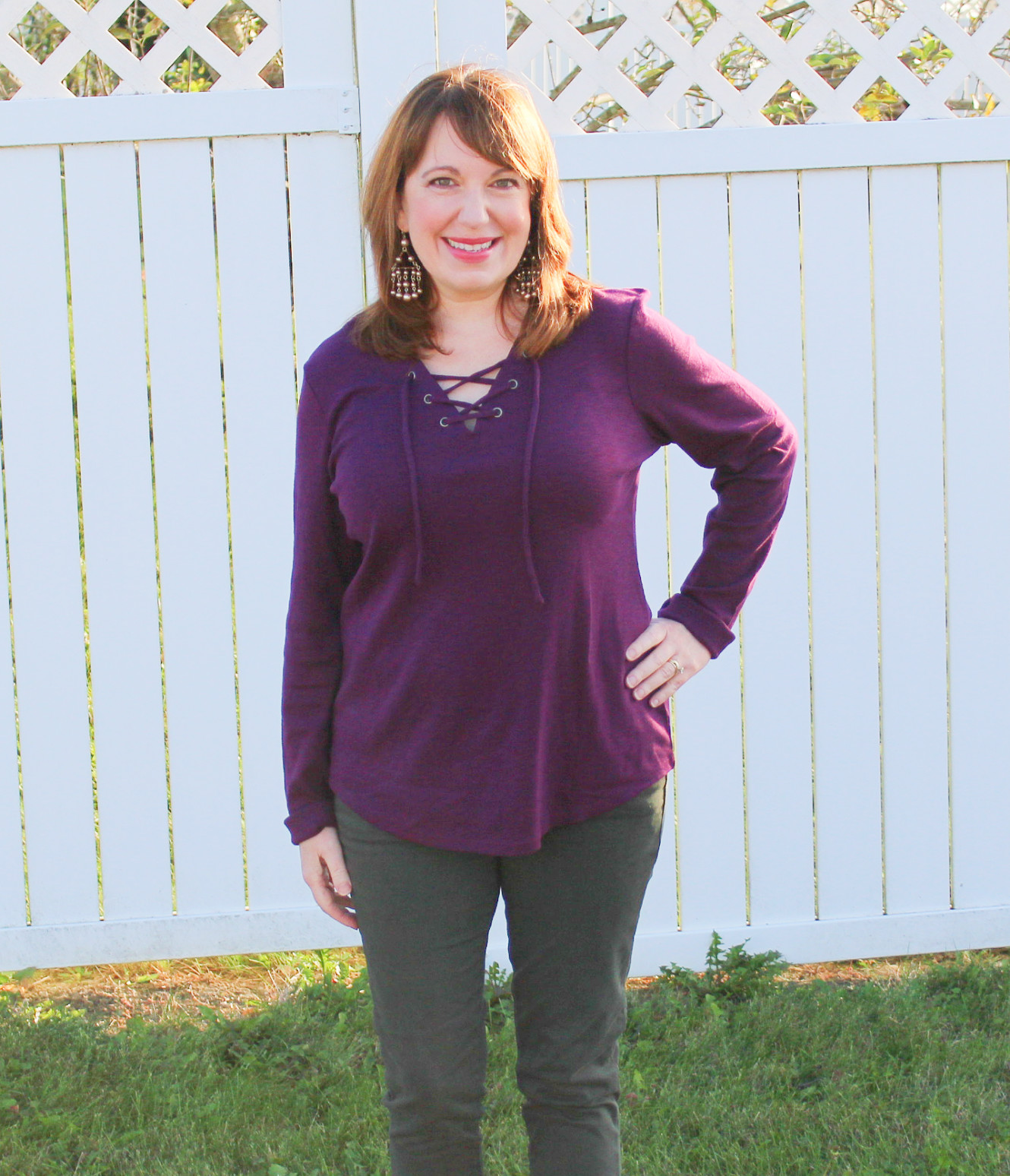 Purple Top And Statement Earrings