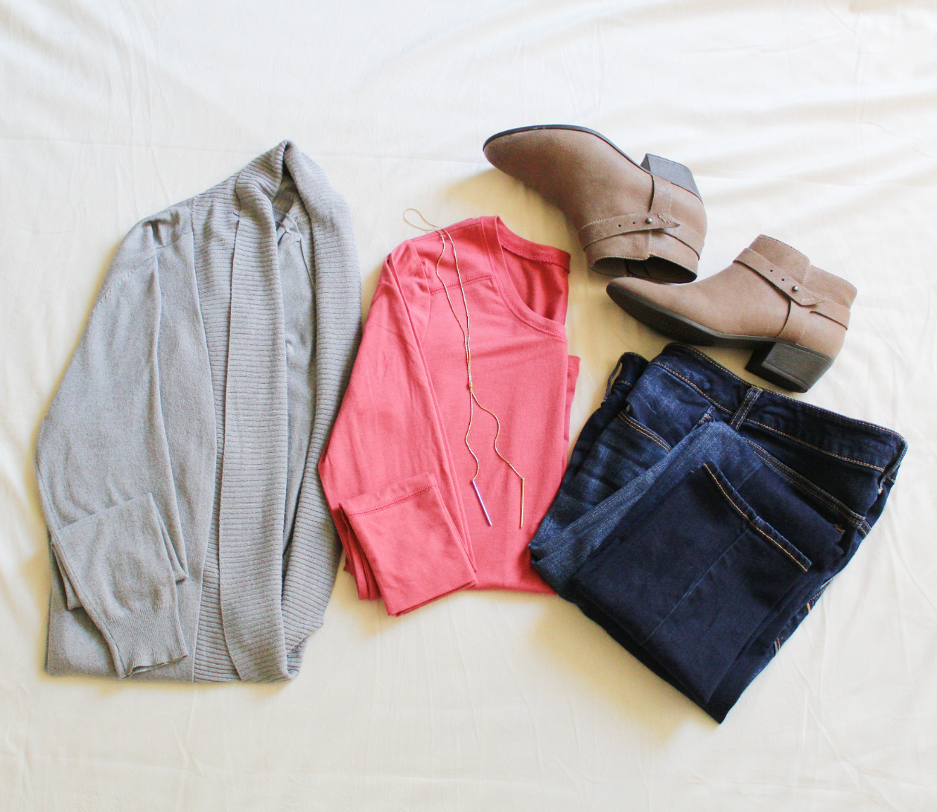 Gray Cardigan, Blush Tee, Jeans, Boots