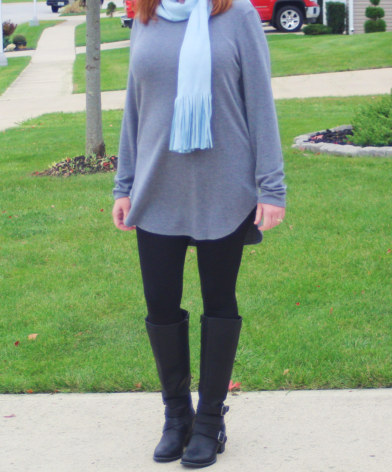 Scarf, Tunic, And Black Leggings