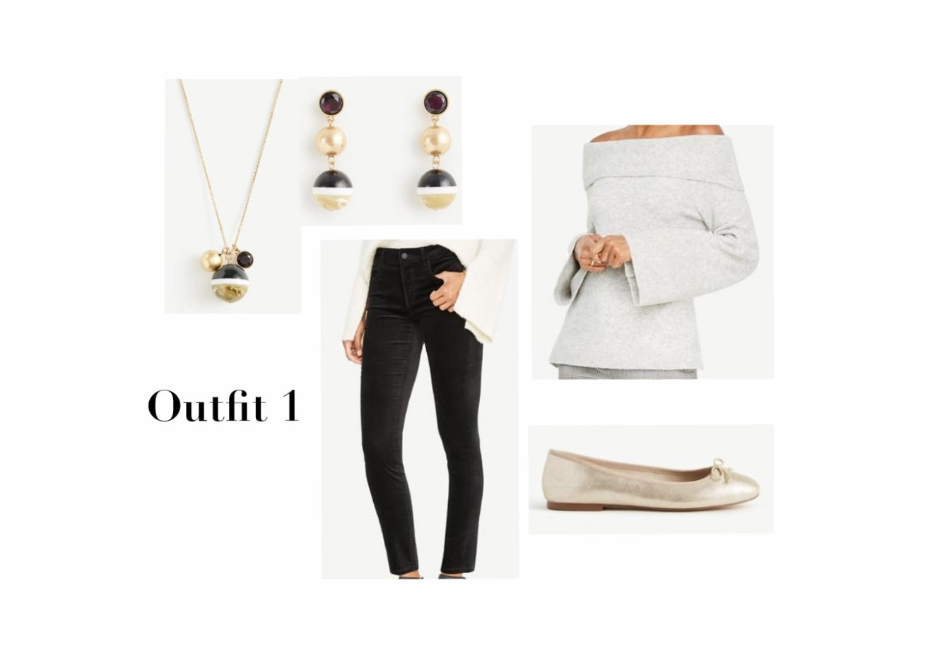 Sweater, Velvet Jeans, Gold Flats, And Jewelry