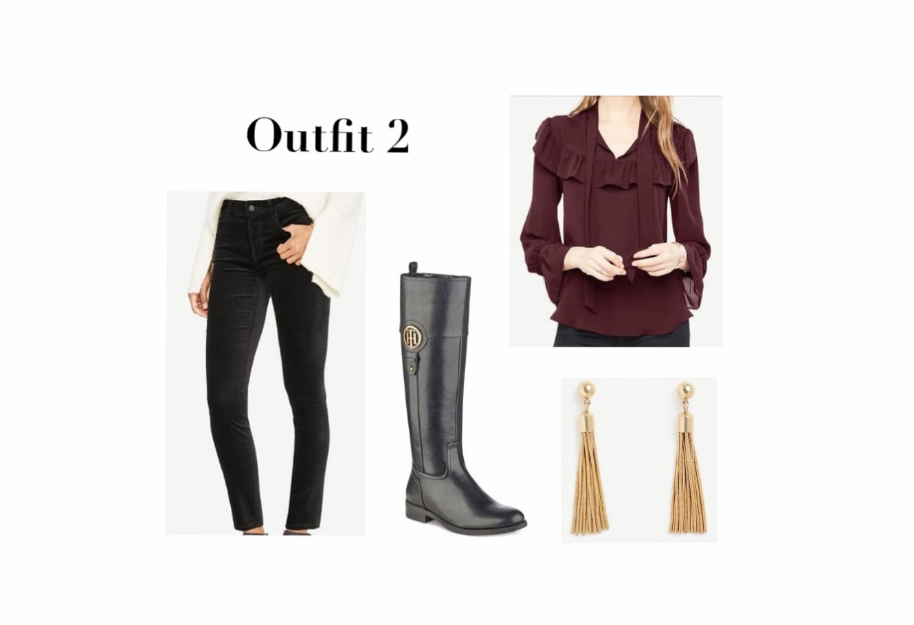 Burgundy Top. Pants, Tall Boots, And Earrings
