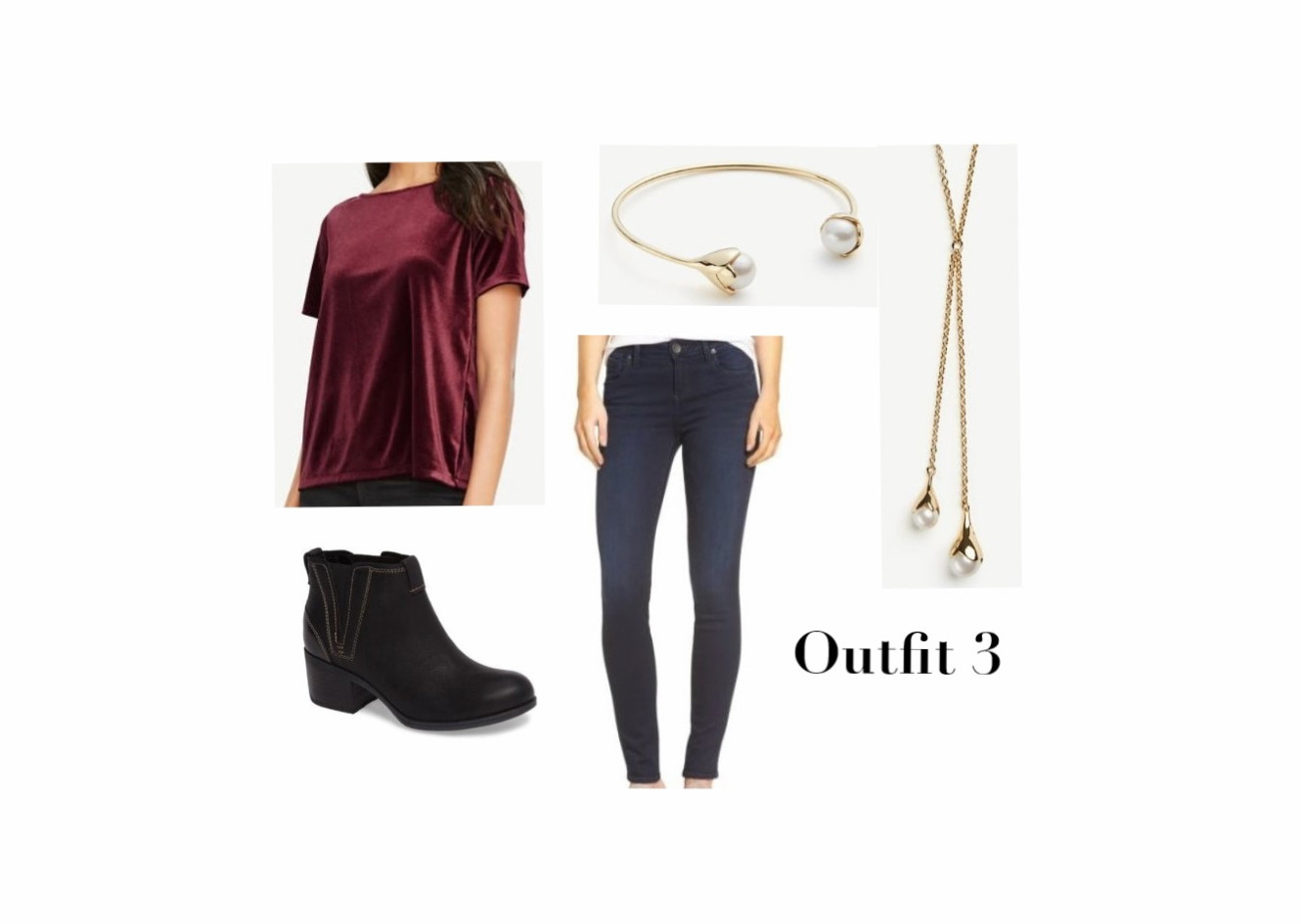 Velvet Top, Jeans, Boots, And Jewelry