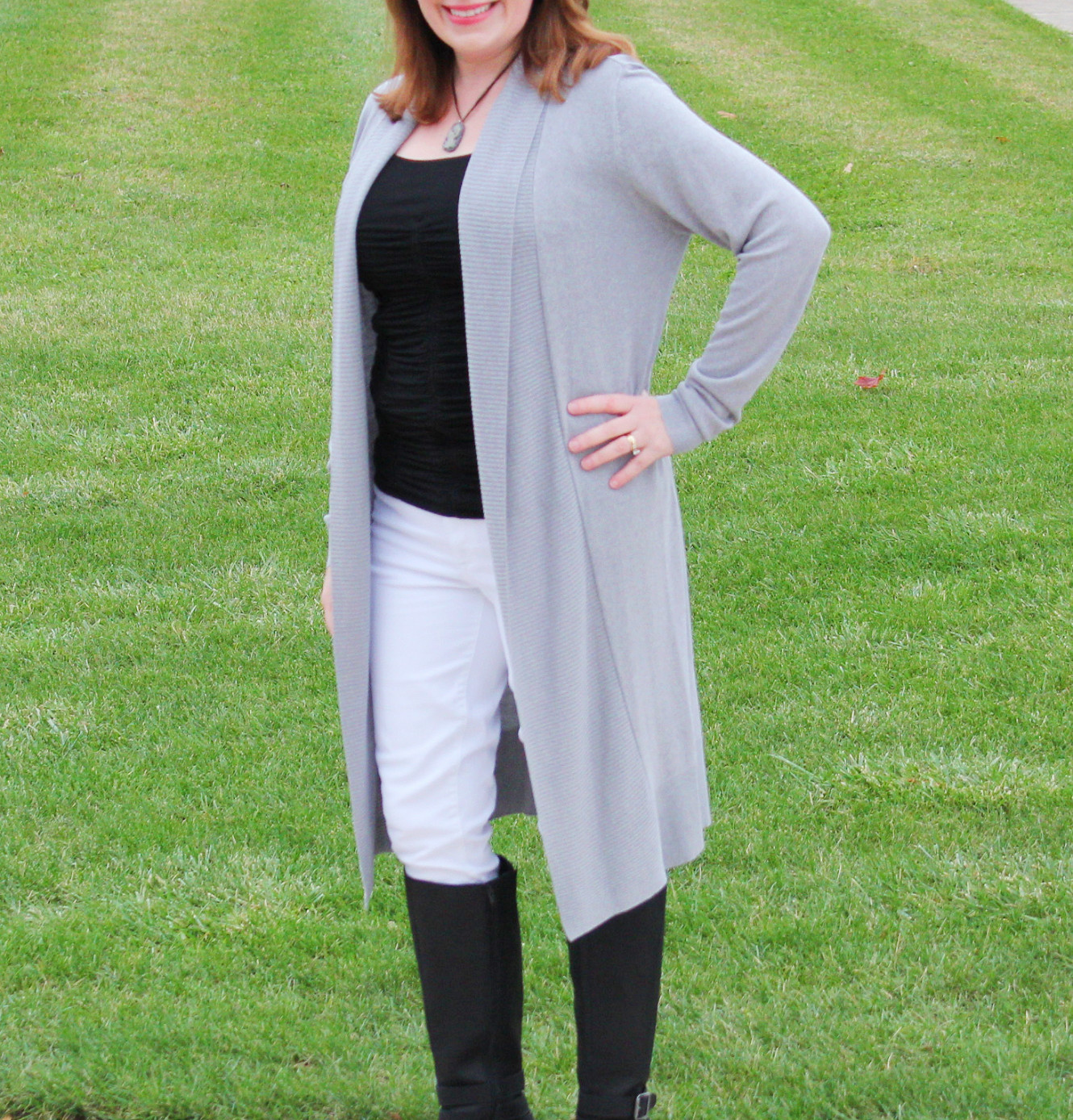 Gray Cardigan With White Jeans