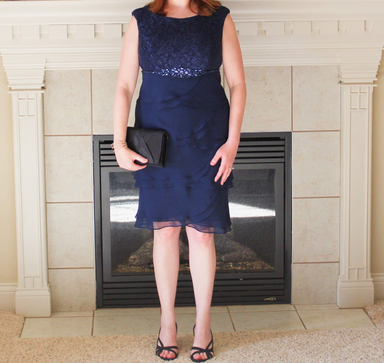 Navy Blue Dress With Black Sandals And Black Clutch