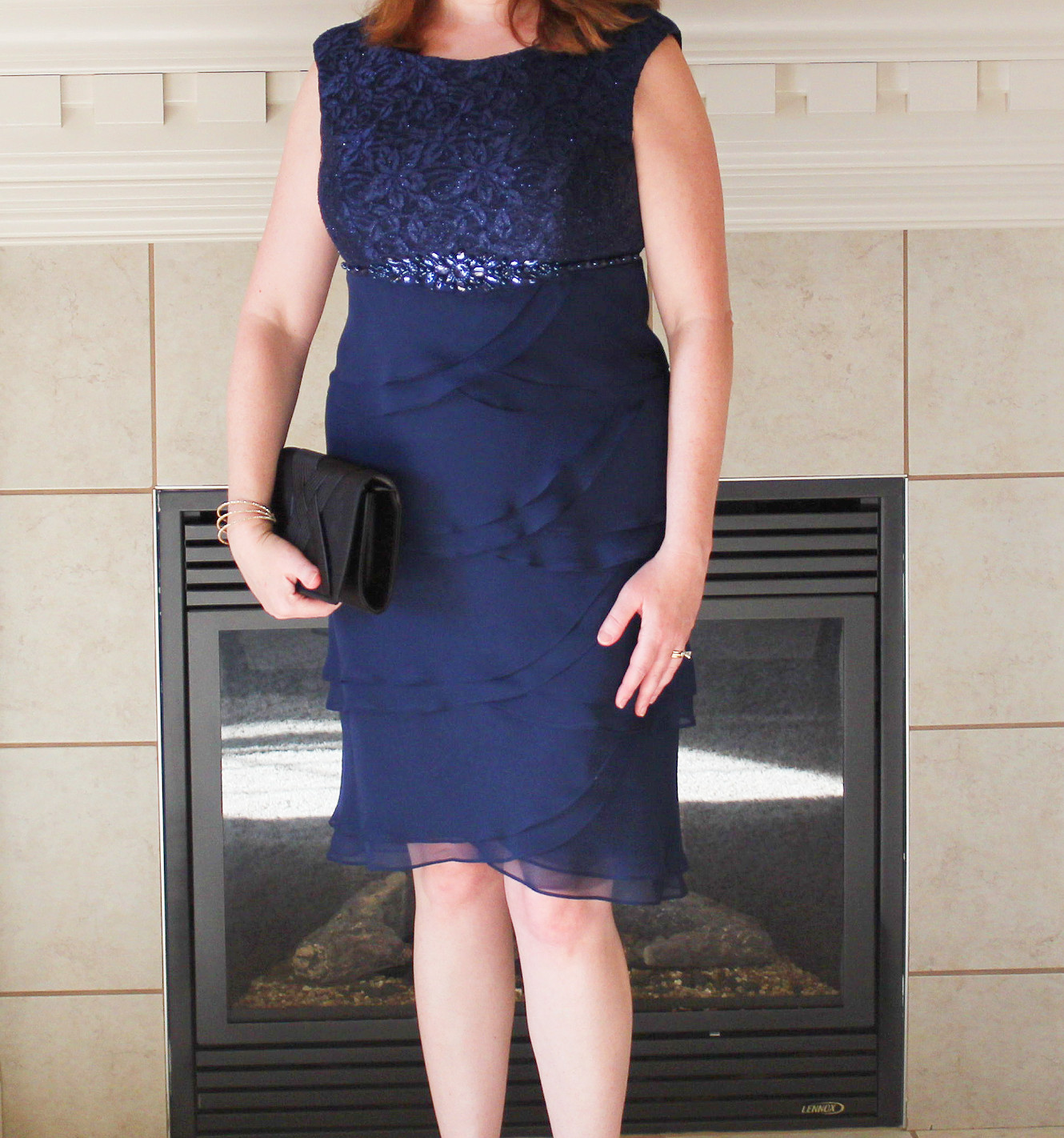 Sequined Bodice Of Navy Blue Dress