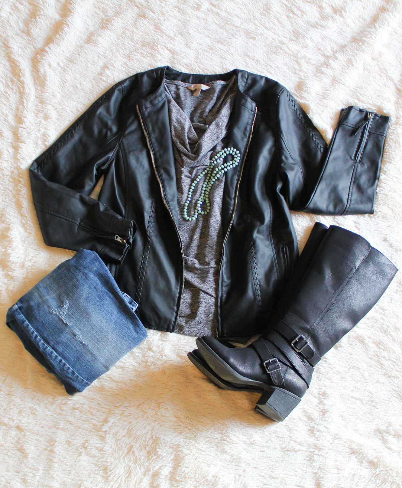 Faux Leather Jacket Outfit/winter Fashion/Dressed In Faith Fashion