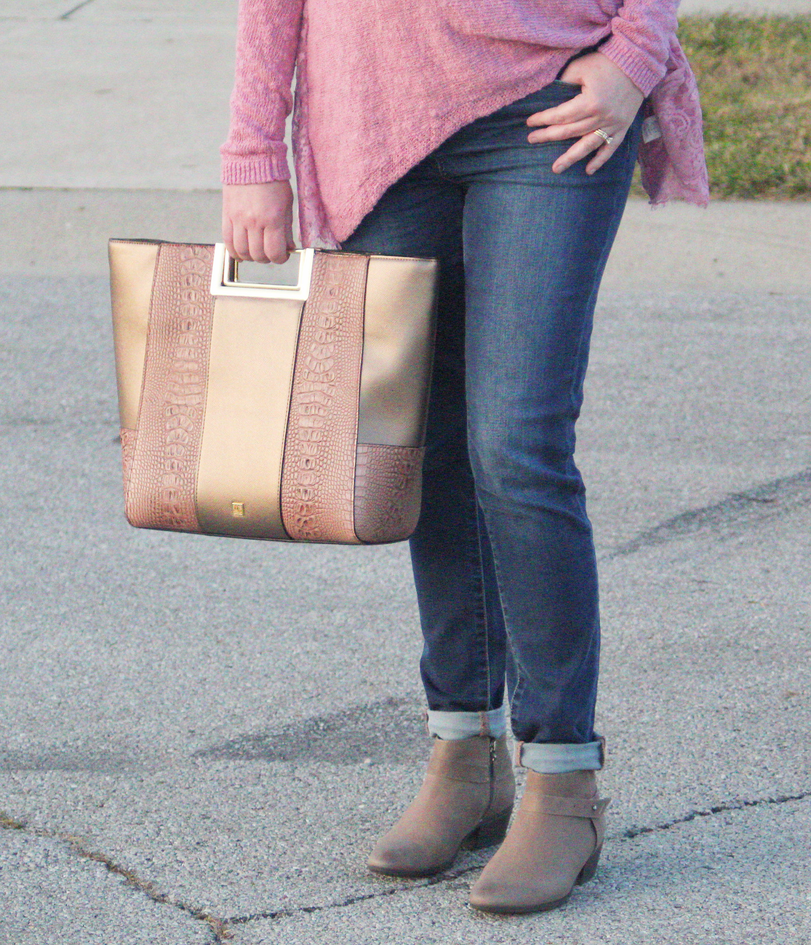Kate Landry Handbag And Pink Sweater