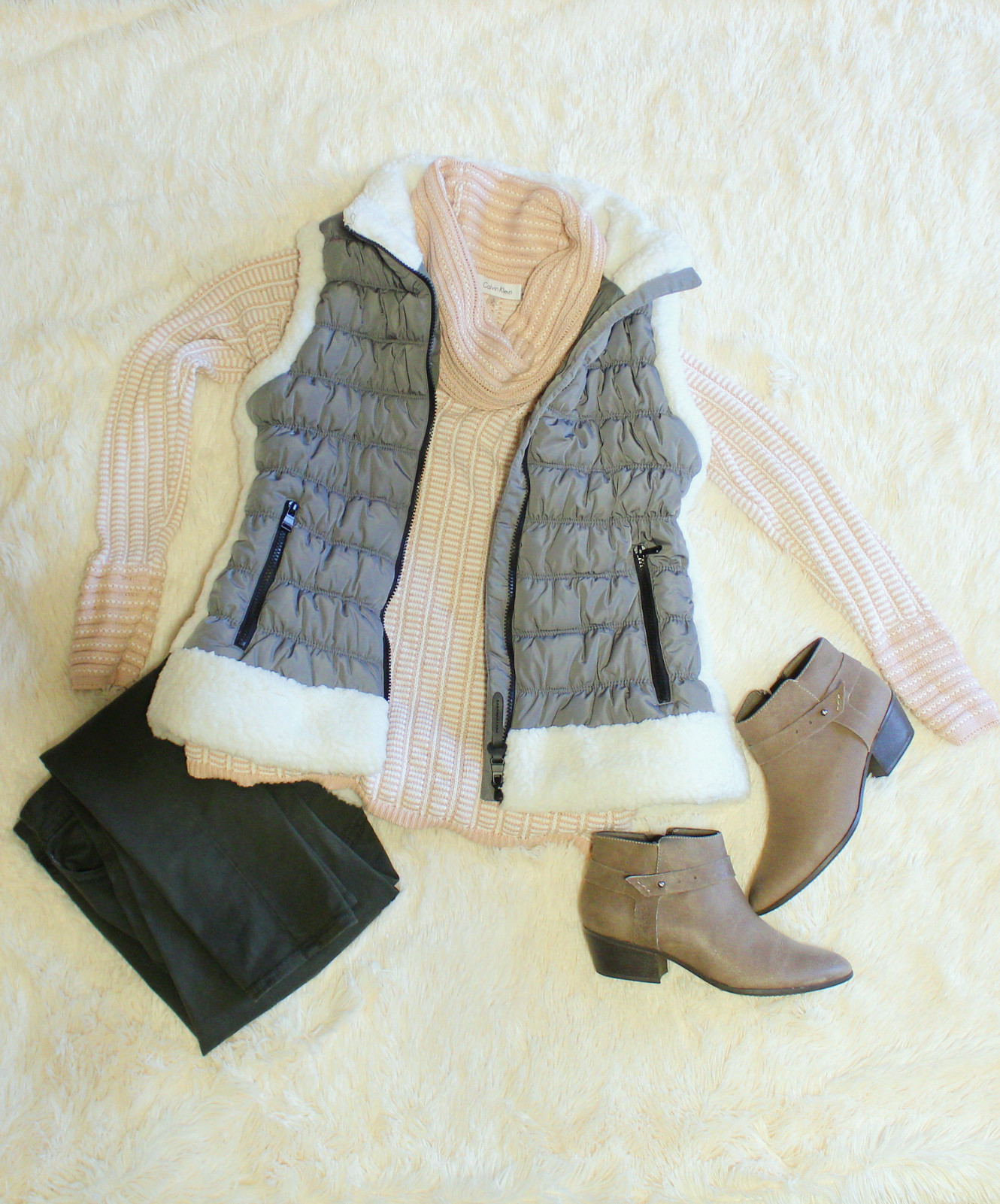 Quilted Vest With Faux Fur Trim/Dressed In Faith