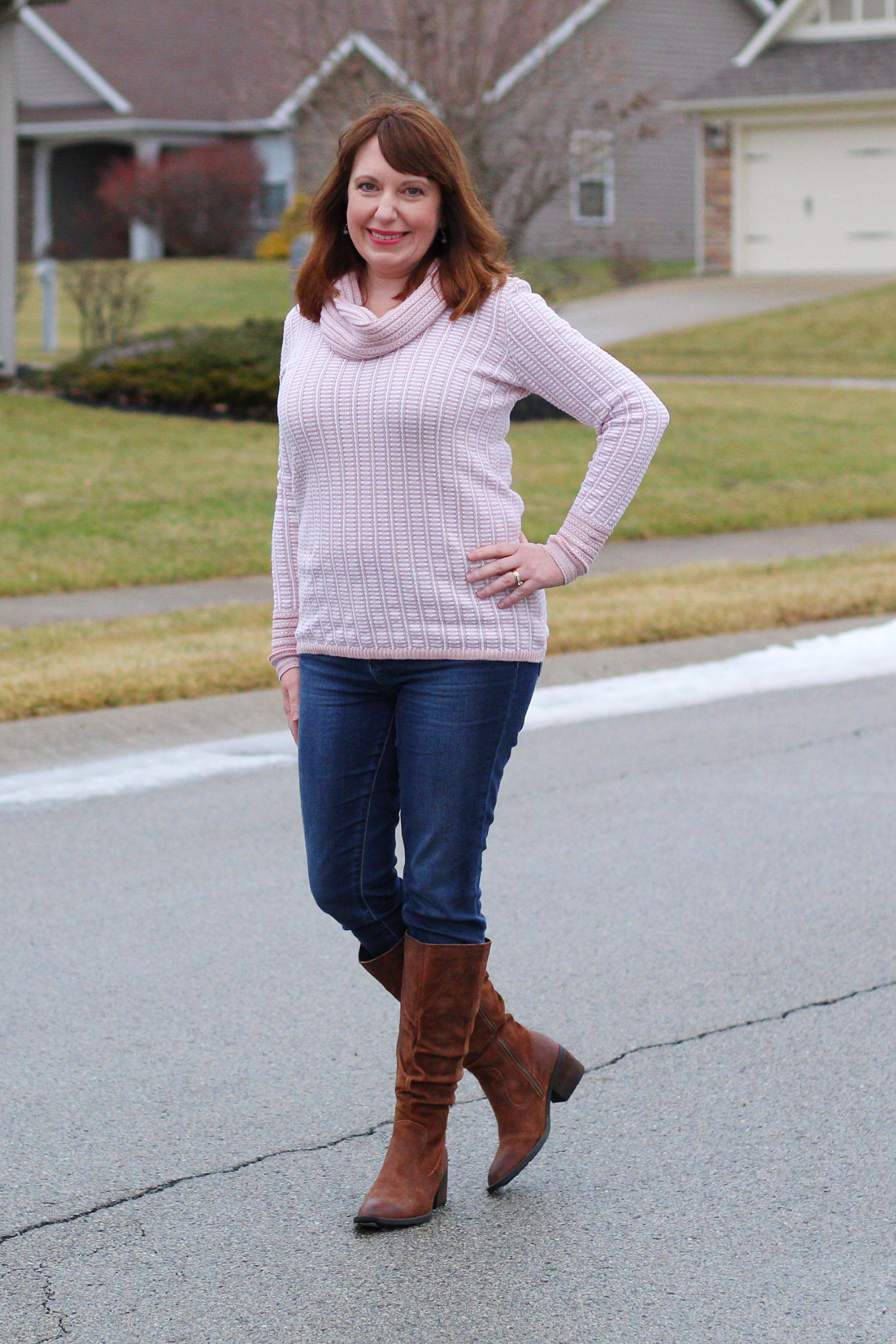 Cowl Neck Sweater And Born Boots