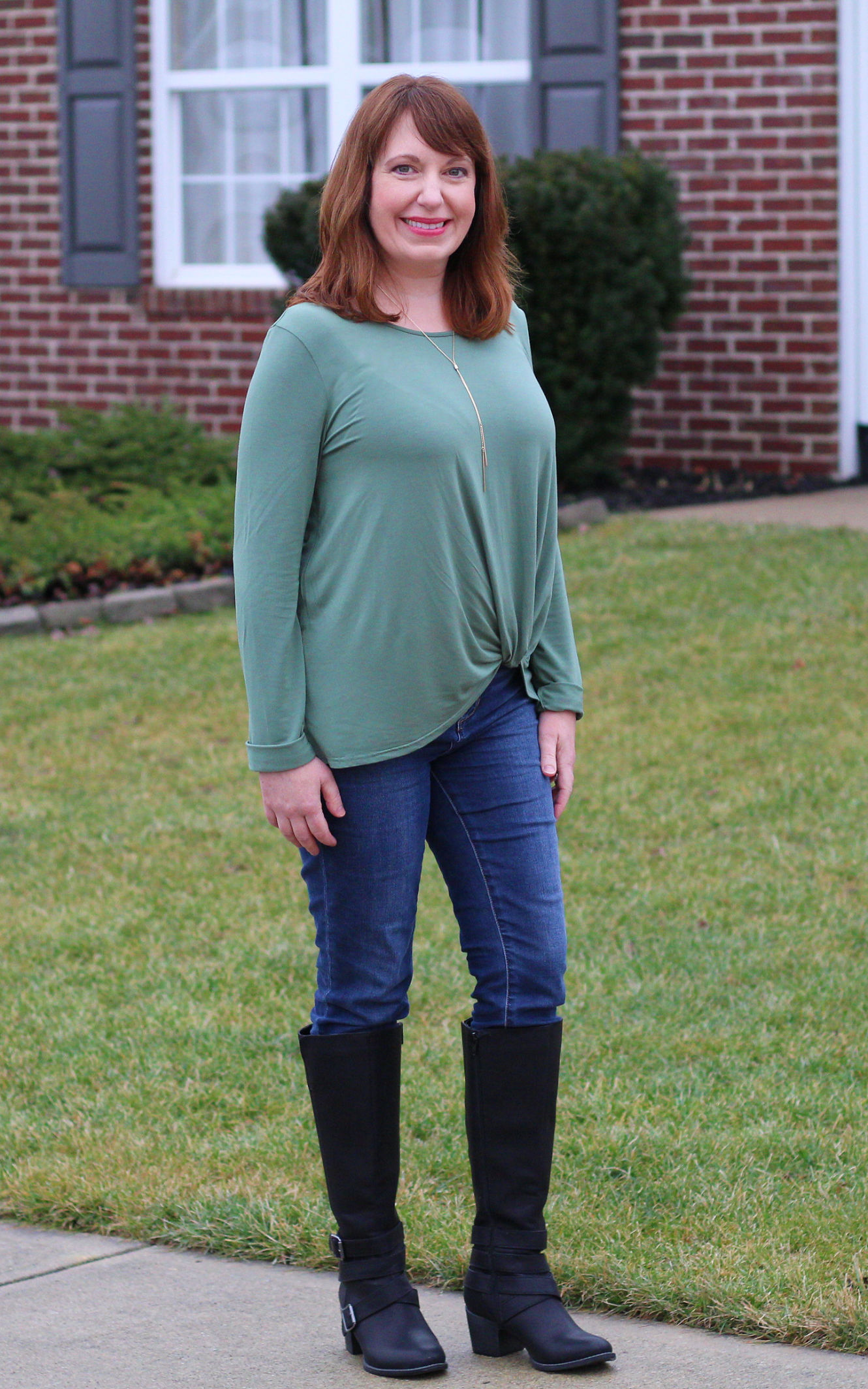 Green Twist Top And Black Boots