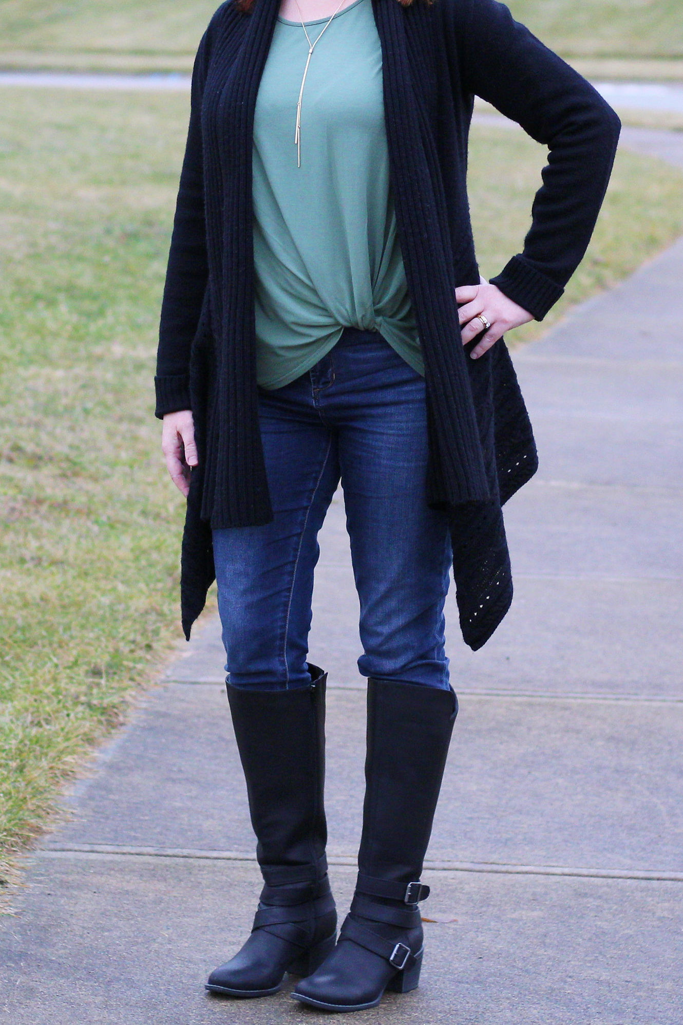 Green Twist Top And Black Cardigan / Winter Outfit / Dressed In Faith