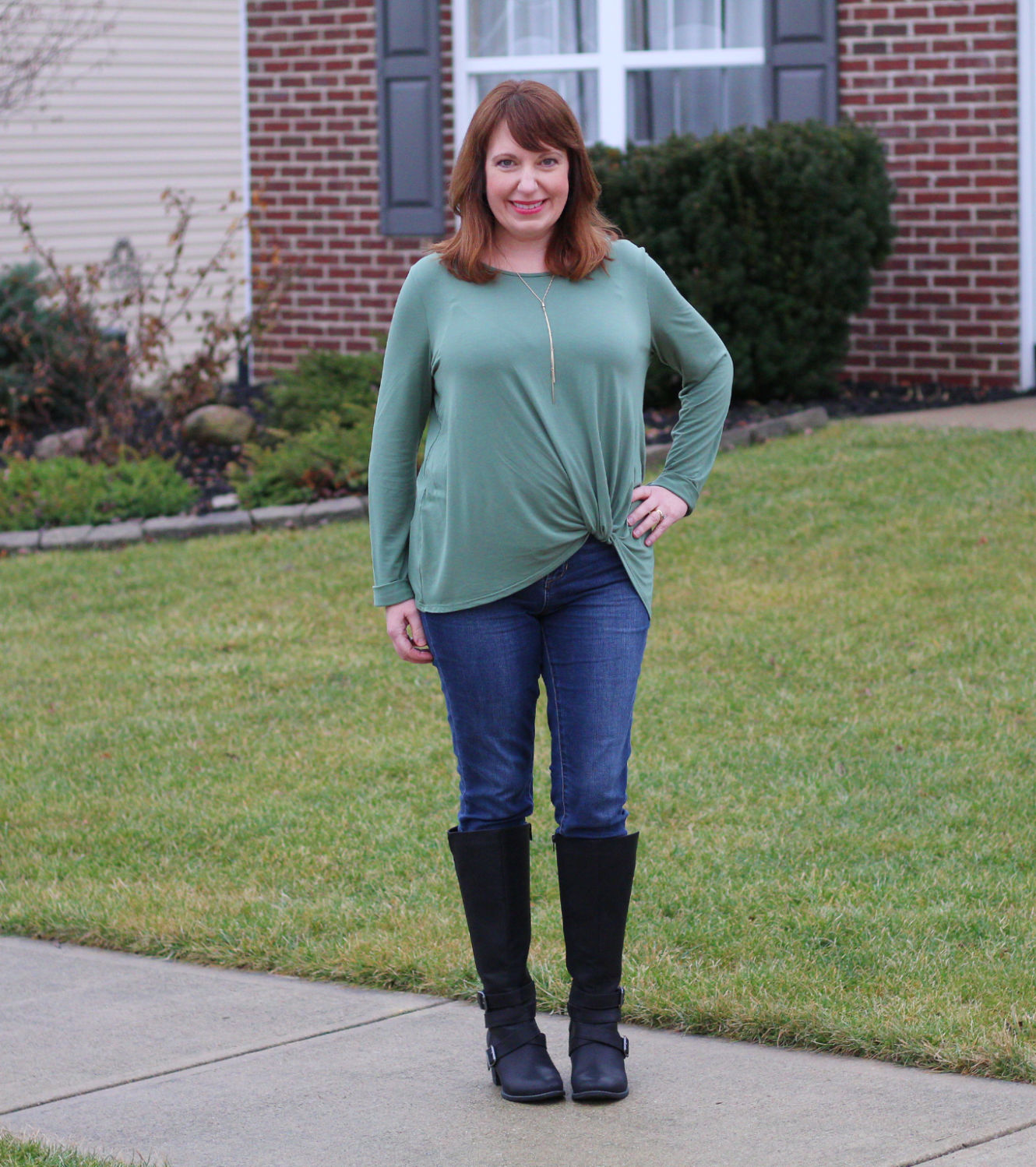 Green Twist Top / Dressed In Faith / Over40Fashion