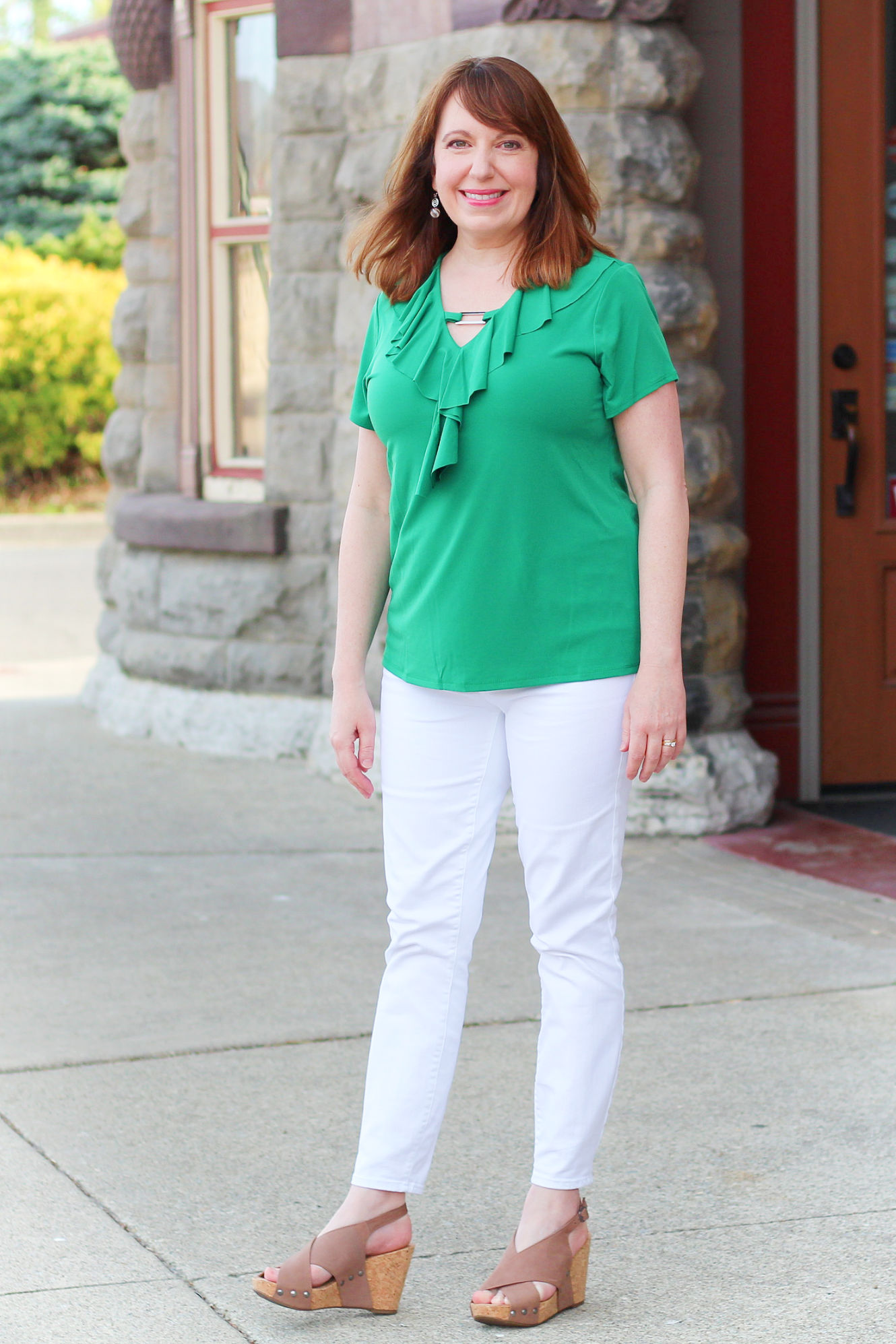 8f880626b4 Green Ruffle Top And White Jeans ⋆ DRESSED IN FAITH