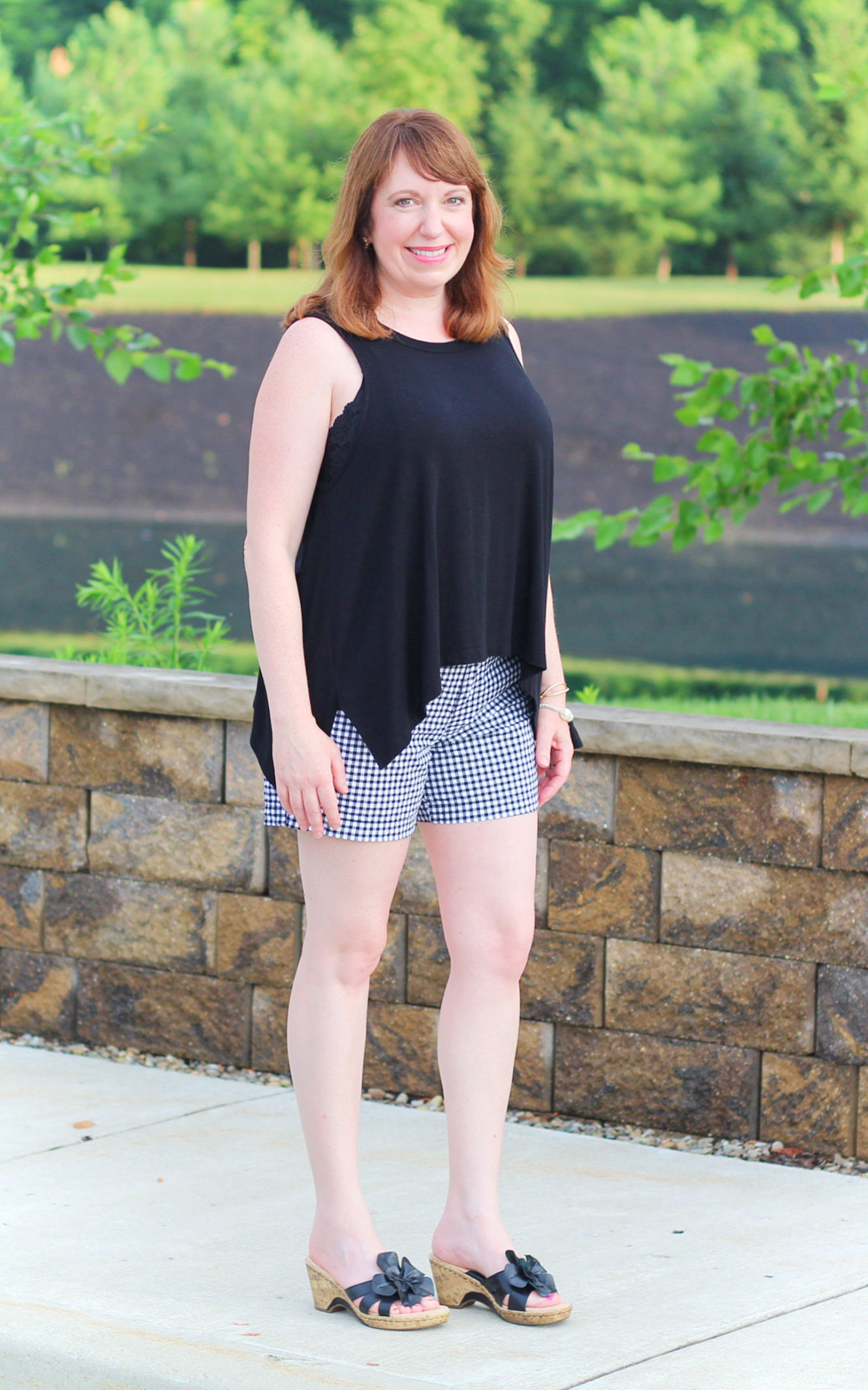 ac7979d5dad43b Black And White Shorts Outfit With A Bralette  fashionover40   fashionforwomenover40  summeroutfit  bralette